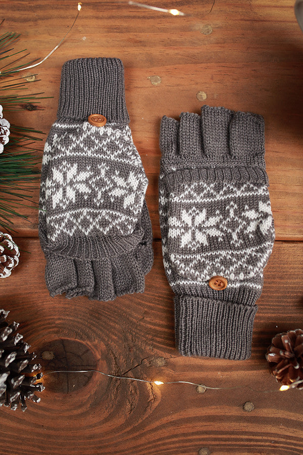 Snowflake Chic Converter Gloves in Grey