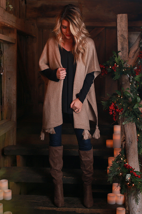 Evening Lights Poncho in Warm Taupe