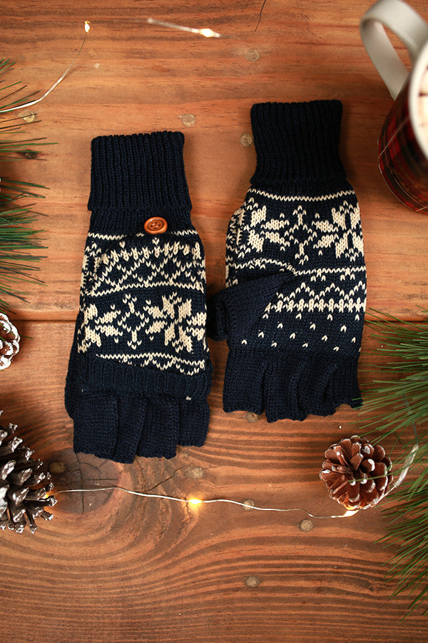 Snowflake Chic Converter Gloves in Navy
