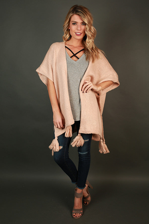 Evening Lights Poncho in Rose Quartz