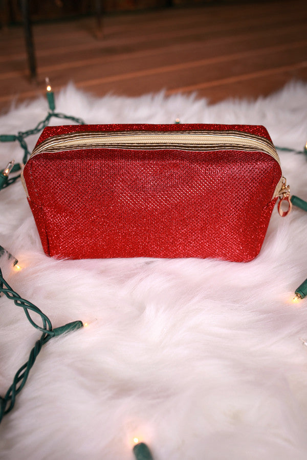 Sweet Shimmers Cosmetic Bag in Red