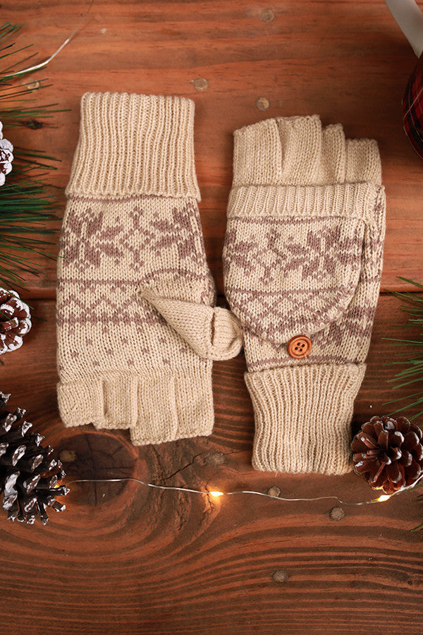Snowflake Chic Converter Gloves in Beige