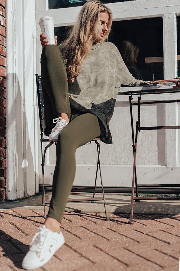 High Waist Fleece Lined Legging in Army Green