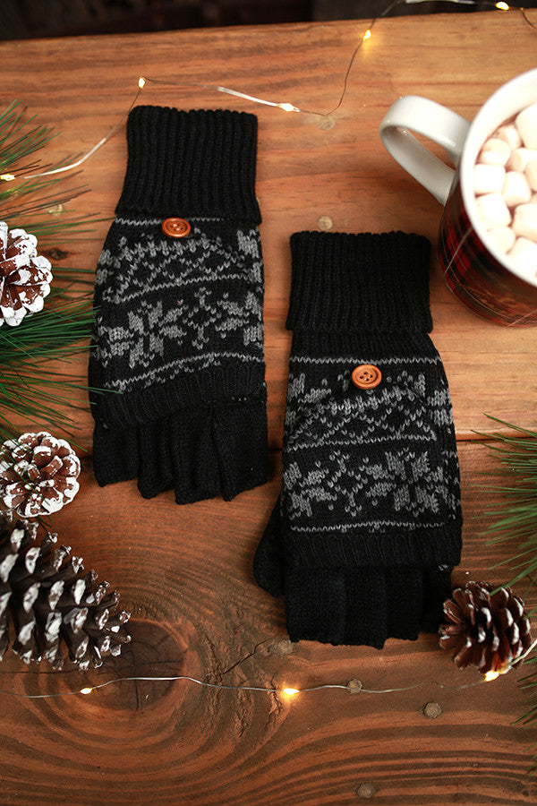 Snowflake Chic Converter Gloves in Black
