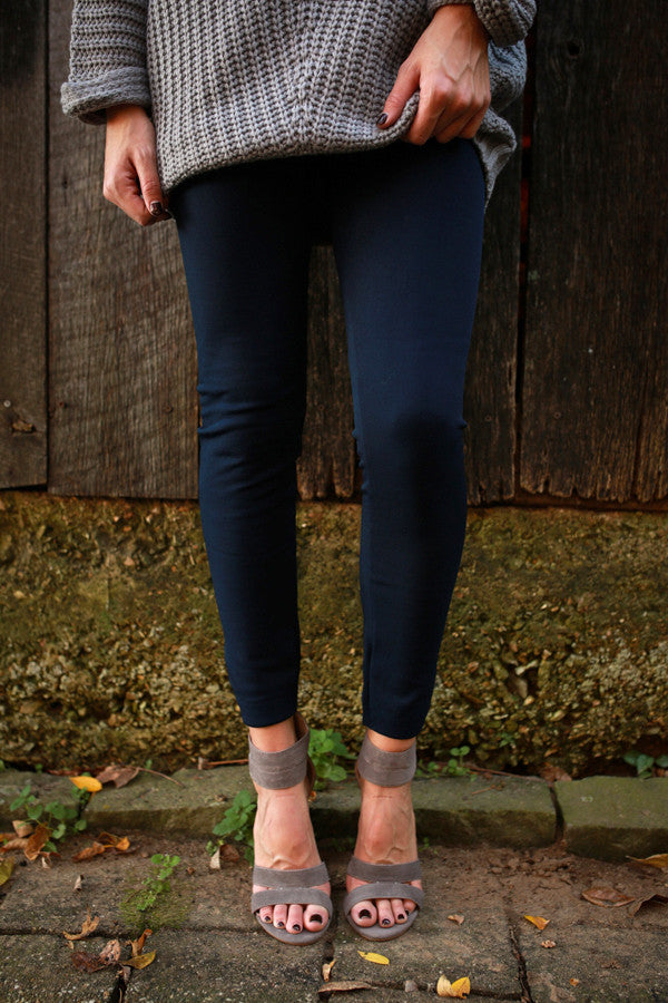 High Waist Fleece Lined Legging in Indigo Blue