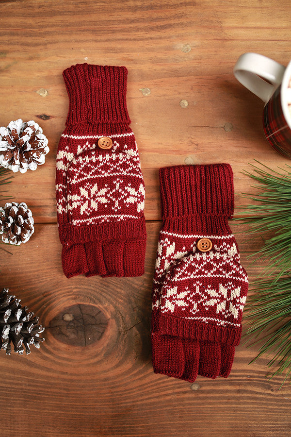 Snowflake Chic Converter Gloves in Crimson