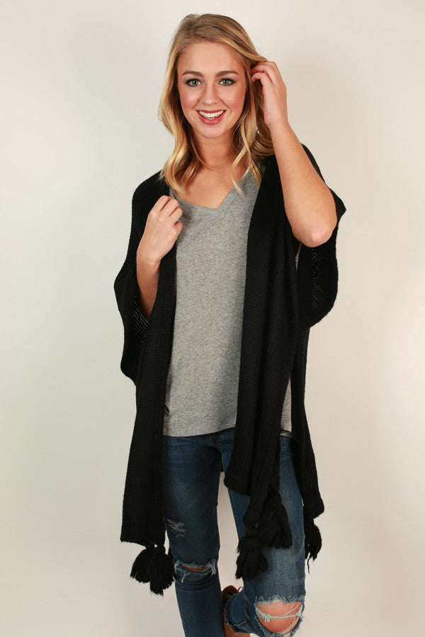 Evening Lights Poncho in Black