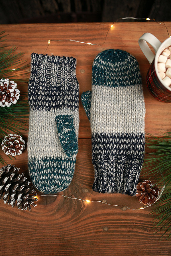 Aspen Cozy Mittens in Navy