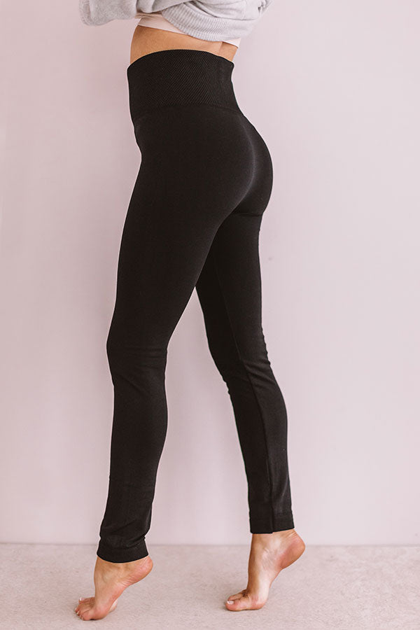 High Waist Fleece Lined Legging in Black
