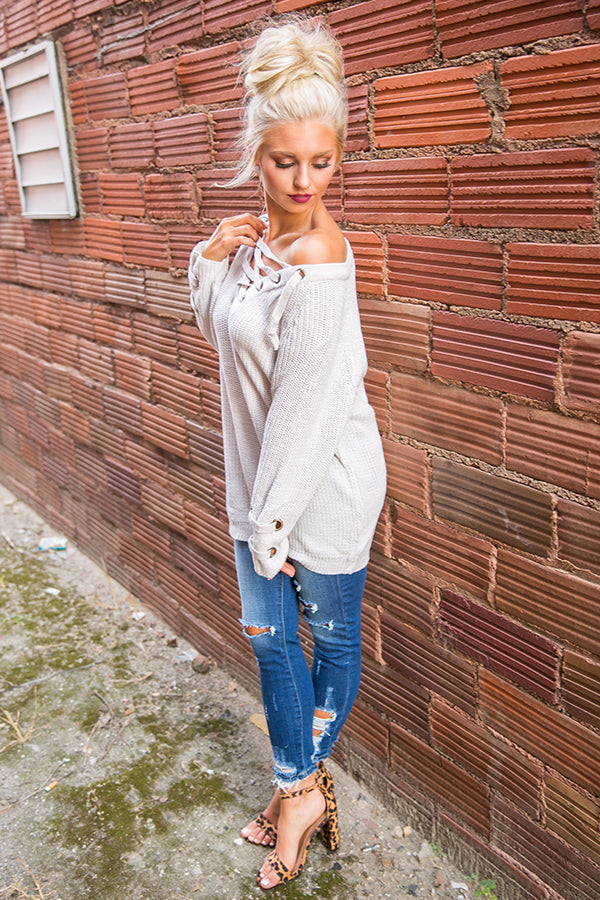 Sugar And Spice Lace Up Sweater In Stone