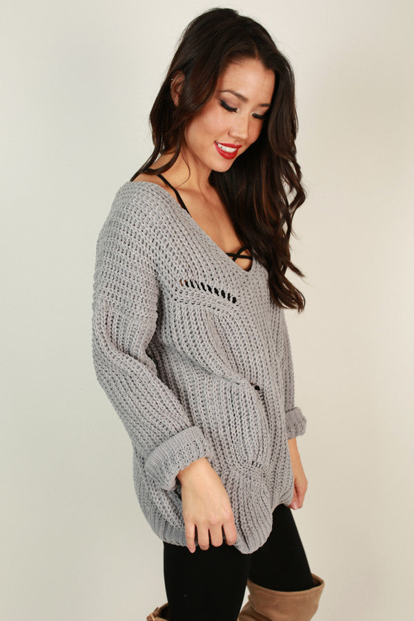 Brunch Date Sweater In Grey
