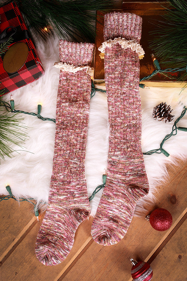 Holiday Hottie Over The Knee Socks in Wine Multi