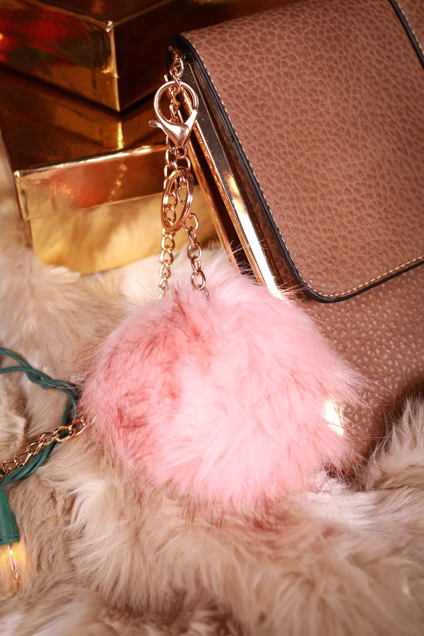 Time To Celebrate Faux Fur Pom Keychain in Pink
