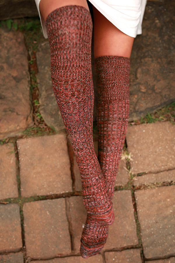 Holiday Happy Hour Over The Knee Socks in Cinnamon Multi