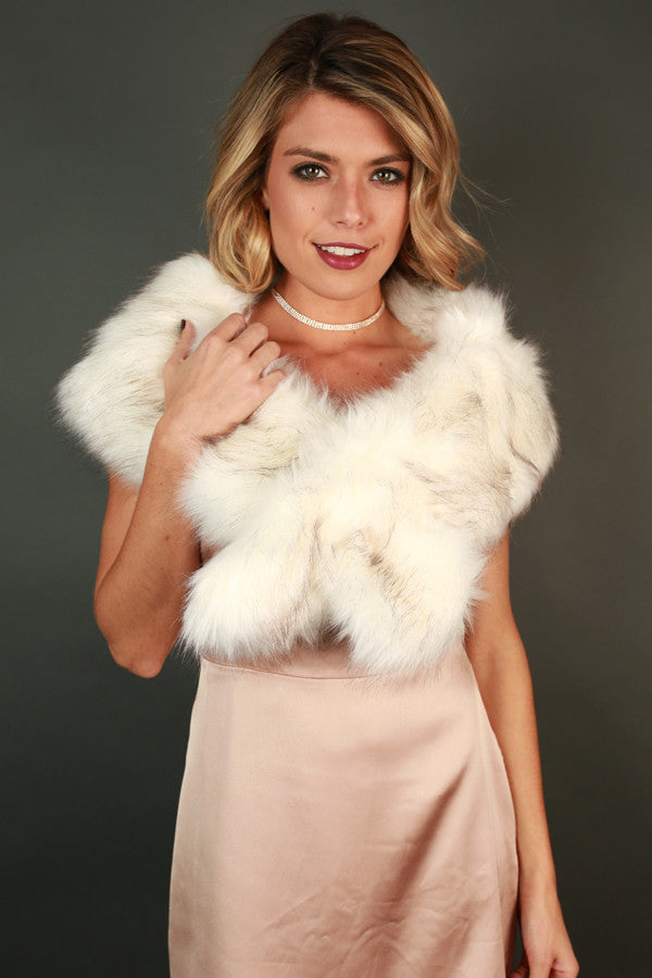 Exquisite Taste Faux Fur Scarf in Ivory