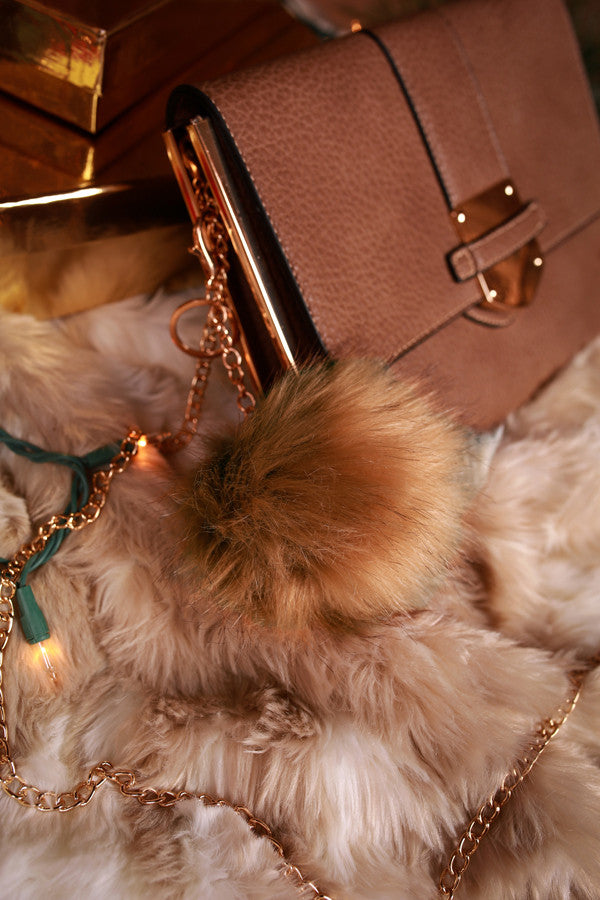 Time To Celebrate Faux Fur Pom Keychain in Tan
