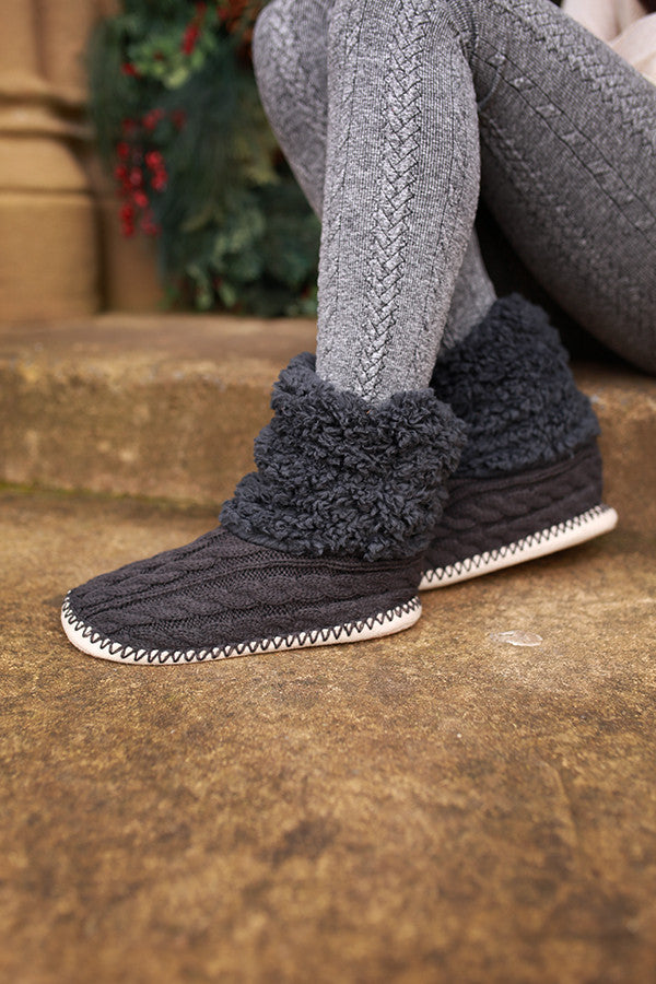 Cable Knit House Slippers