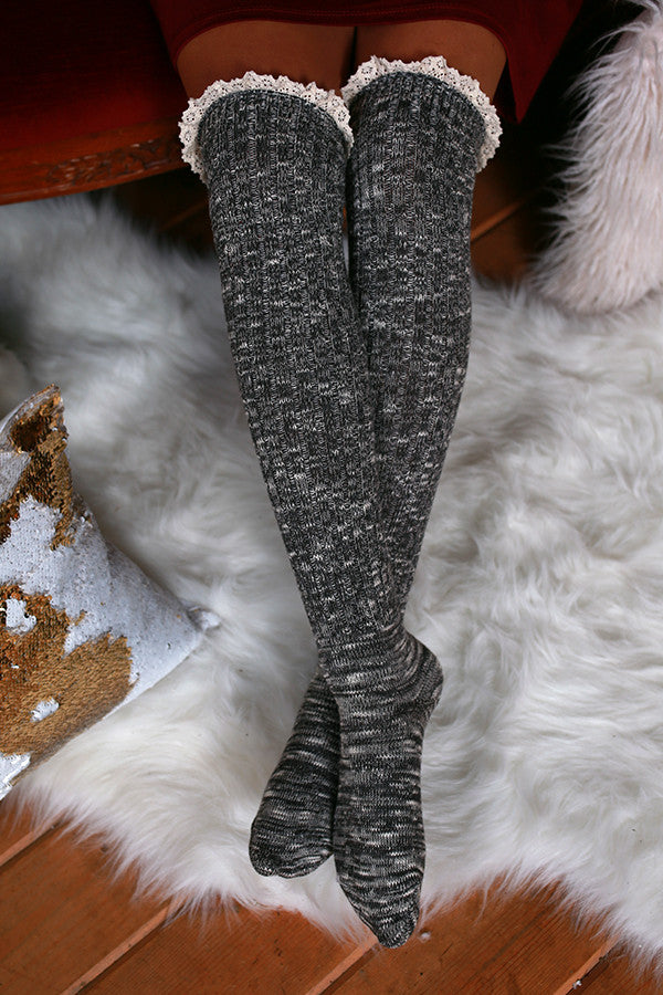 Holiday Hottie Over The Knee Socks in Charcoal Multi