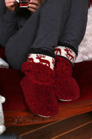 Reindeer Cozy House Slippers in Crimson