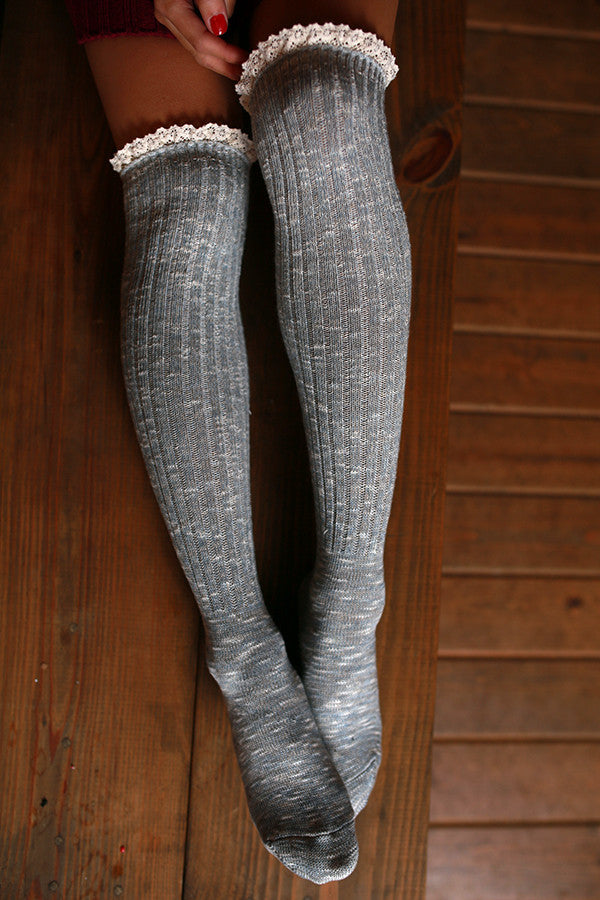 Holiday Hottie Over The Knee Socks in Light Grey Multi
