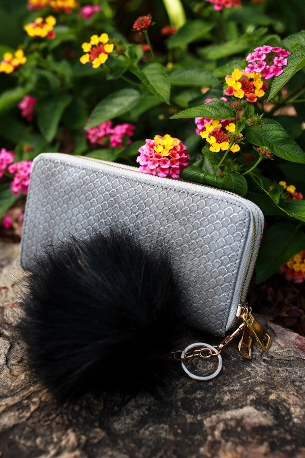 Time To Celebrate Faux Fur Pom Keychain in Black