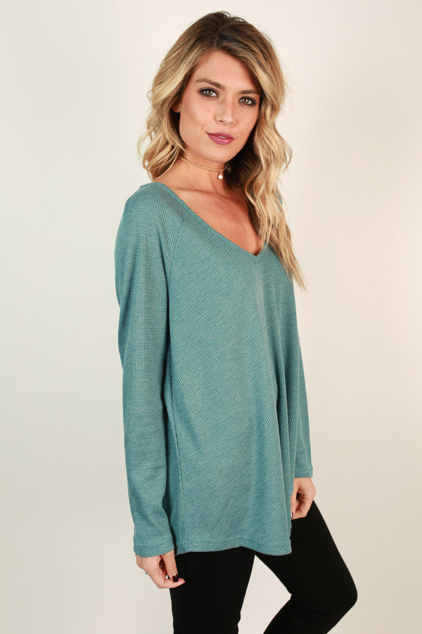 Casual Outing Thermal Tunic in in Light Teal