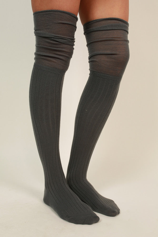 Girl Squad Over The Knee Socks in Dark Grey