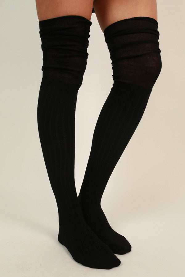 Girl Squad Over The Knee Socks in Black