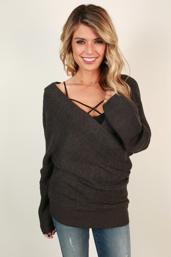 Run Away With Me Wrap Sweater In Charcoal