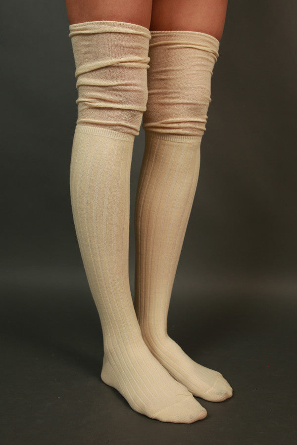 Girl Squad Over The Knee Socks in Cream