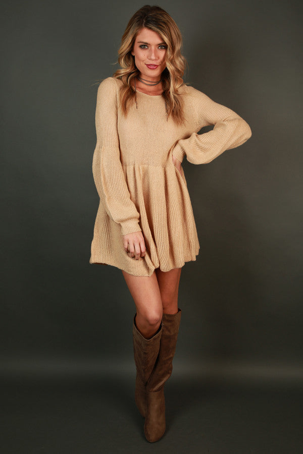 Steamboat Babydoll Tunic Sweater in Beige