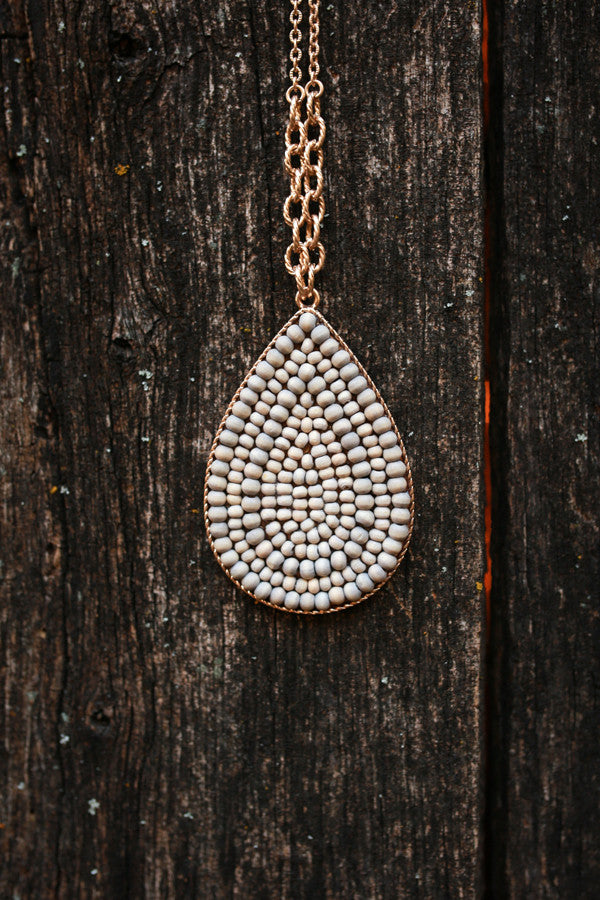 Beaded Beauty Necklace in Stone