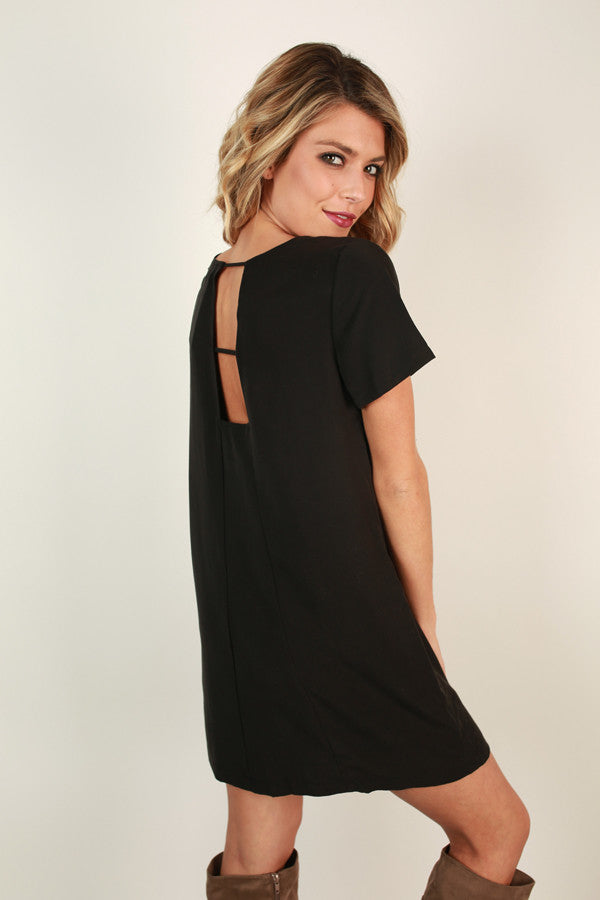 Just A Crush Cut Out Shift Dress in Black