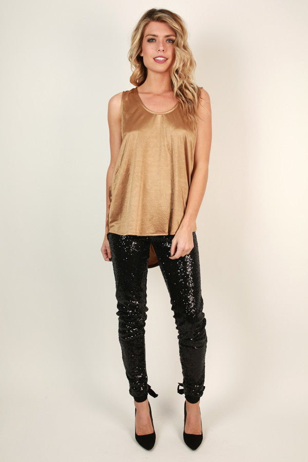 Sparks Fly High Waist Sequin Leggings in Black