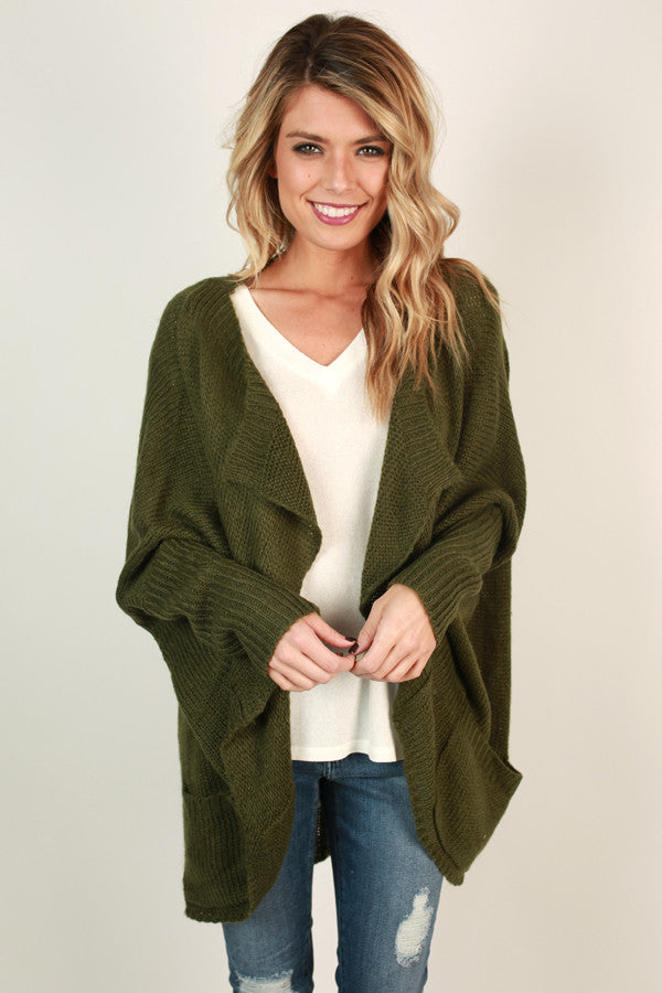 Fall Breeze Cardigan in Olive
