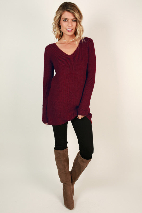 Never Look Back Lace Up Sweater in Wine