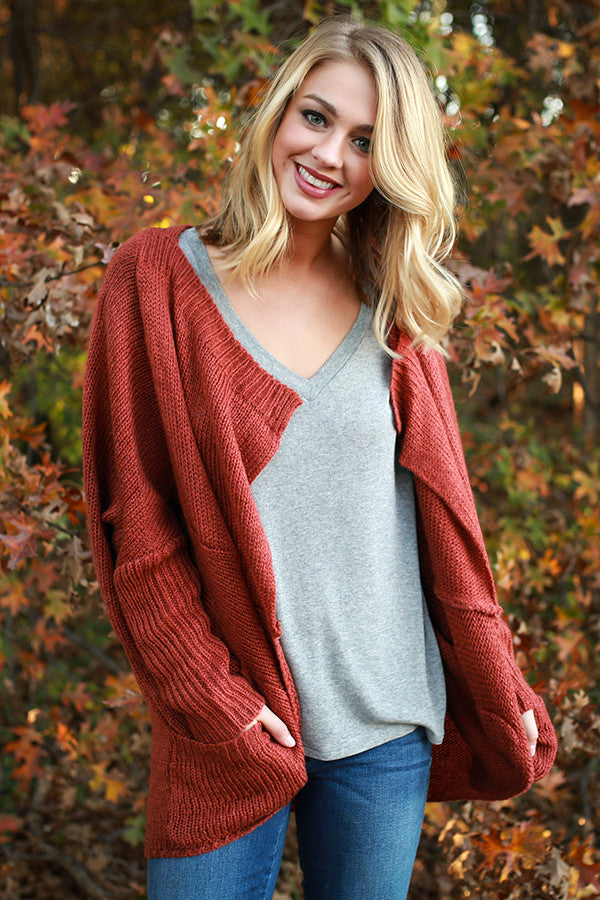 Fall Breeze Cardigan in Rust