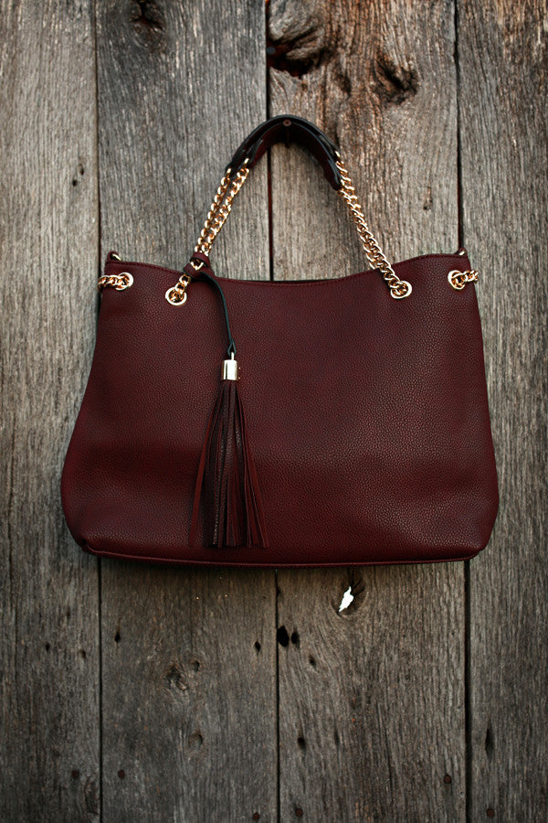 She's Going Places Tote in Maroon