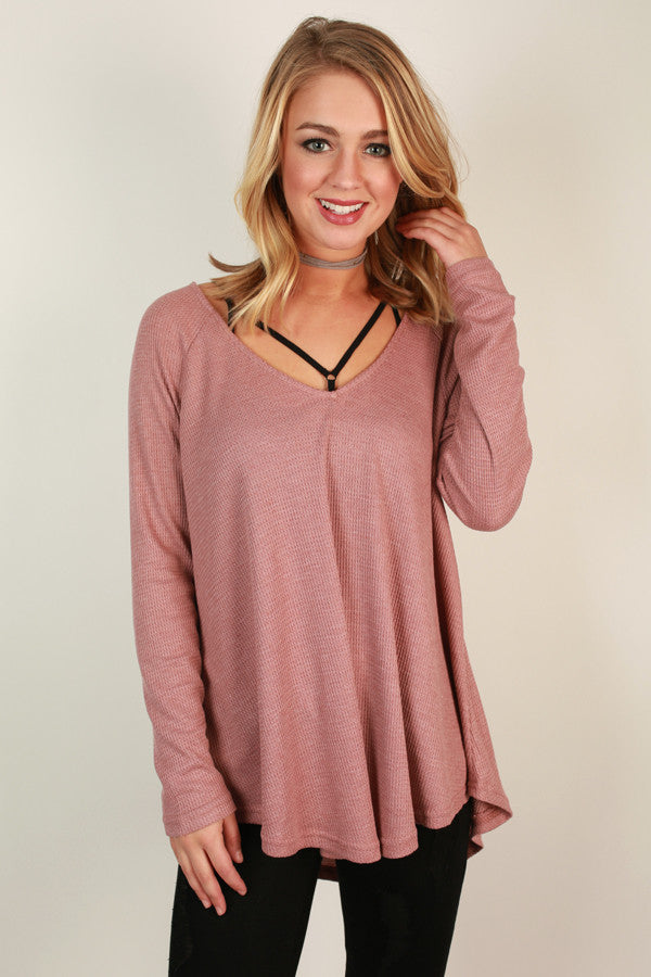Casual Outing Thermal Tunic In Blush