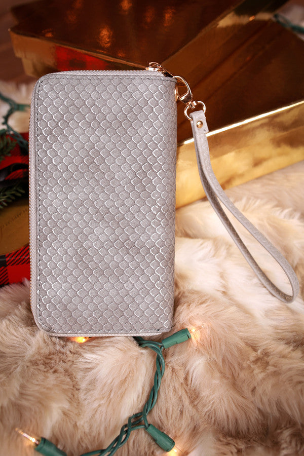 Shimmer On Down Wallet in Grey