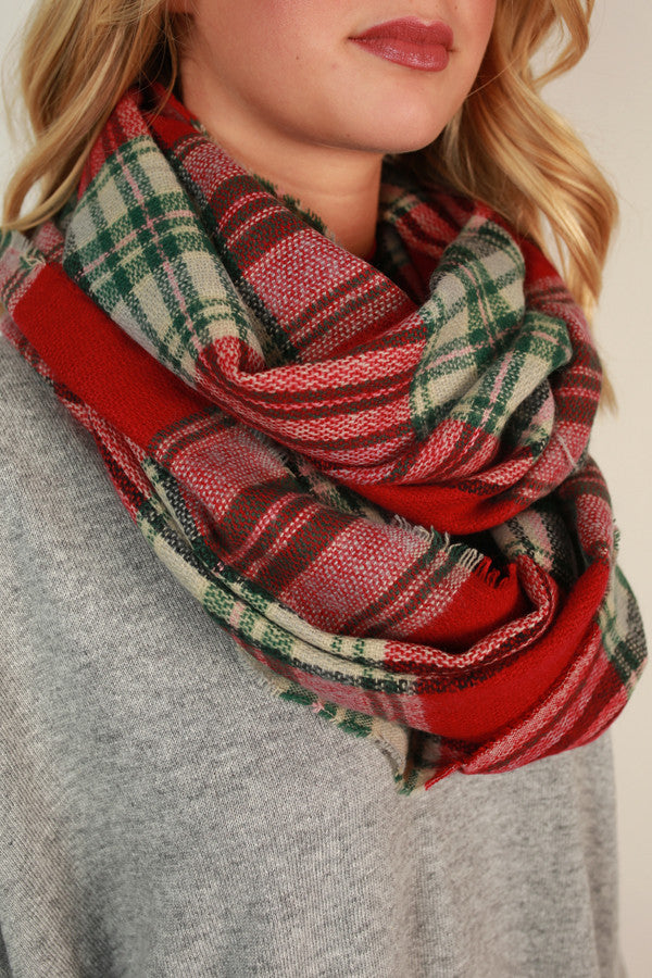 Cozy Love Infinity Blanket Scarf in Red