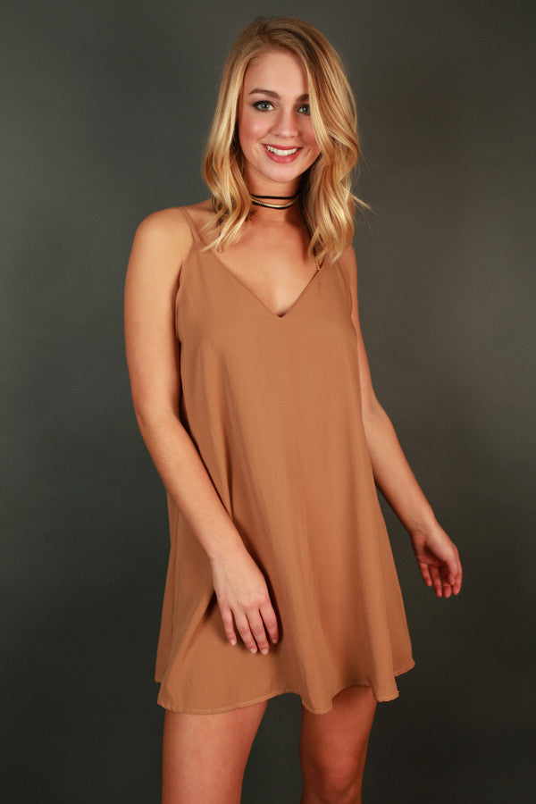 Keep It Chic Shift Dress in Camel