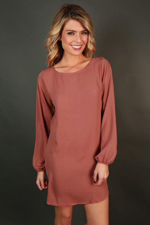 Simple Stunner Shift Dress in Peach Echo