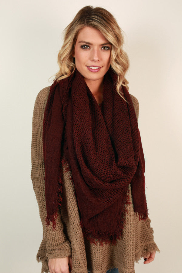 So Happy Together Blanket Scarf in Maroon