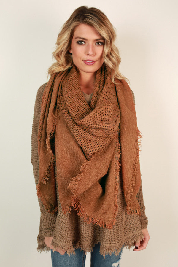 So Happy Together Blanket Scarf in Cinnamon