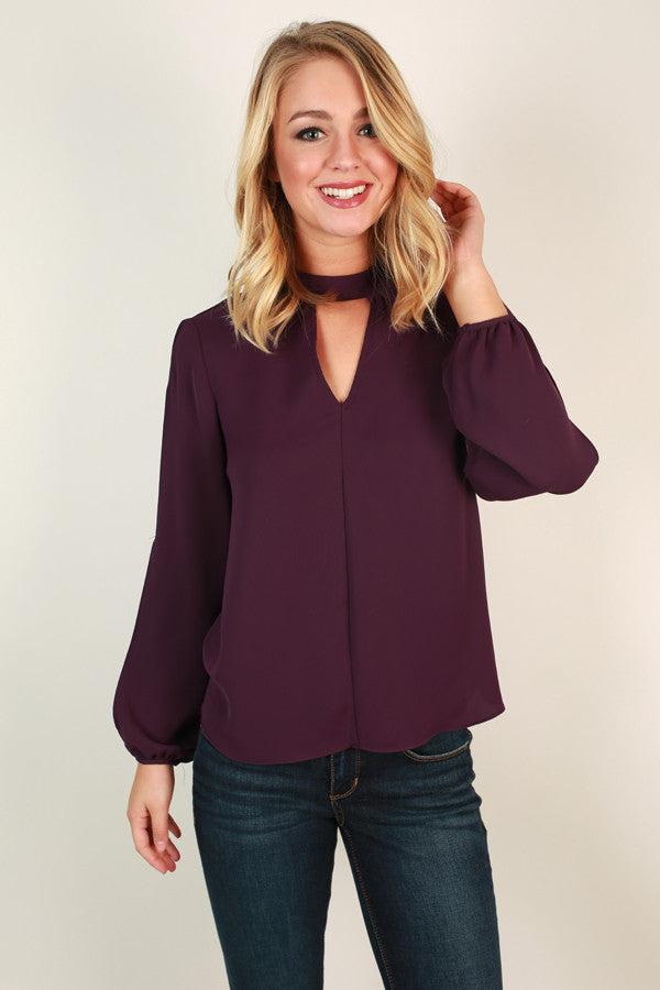 Mod About It Cut Out Top in Purple