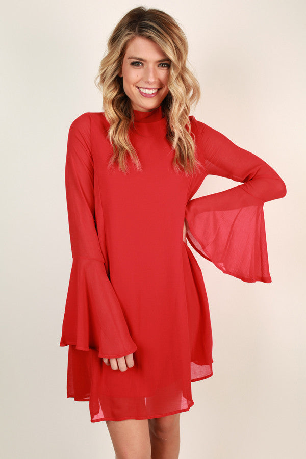 Martini Moment Shift Dress In Red
