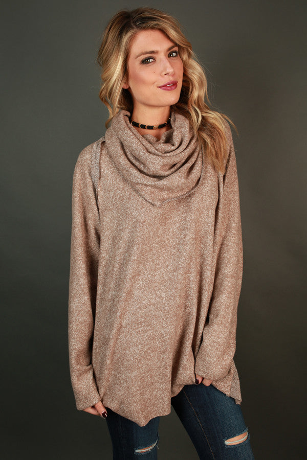 Snuggled By The Fire Sweater In Warm Taupe