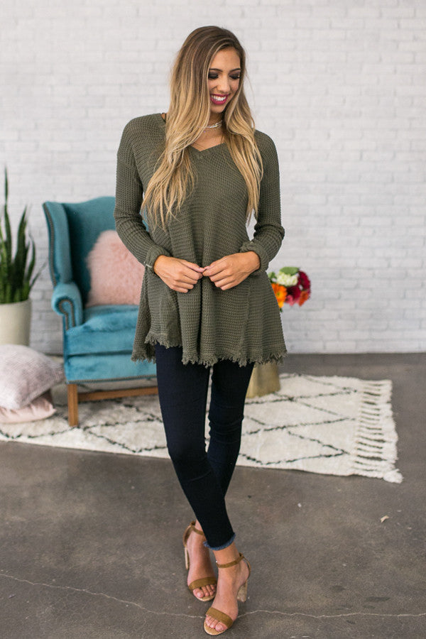 Make You Smile Sweater In Army Green