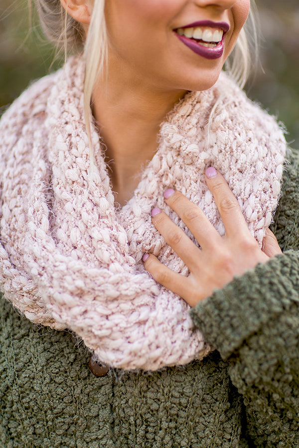 Cozy Up Cutie Infinity Scarf in Rose Quartz